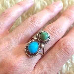 🌙 Vintage Turquoise Malachite Ring Silver Native